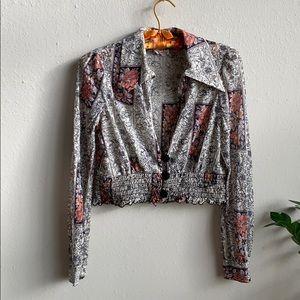 🦋 Vintage 70's Crop Top Blouse w Wide Collar